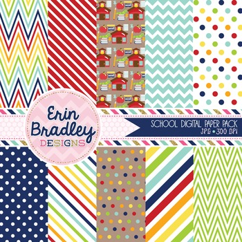 School Digital Paper Backgrounds - Rainbow Colors Polka Dots Chevron Patterns