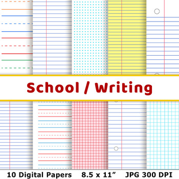 School Digital Papers, Preschool Writing Paper, Math Graph Paper