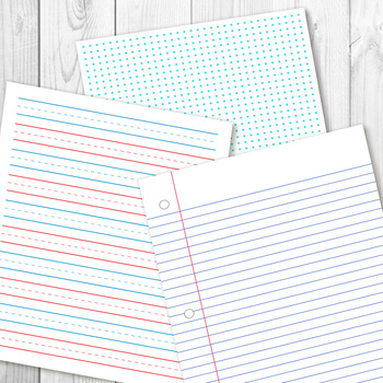 Digital Papers, Preschool Writing Paper, Math Graph Paper, Lined
