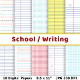 School Digital Papers, Preschool Writing Paper, Math Graph Paper, Lined Papers