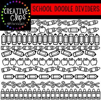 School Doodle Dividers {Creative Clips Digital Clipart}