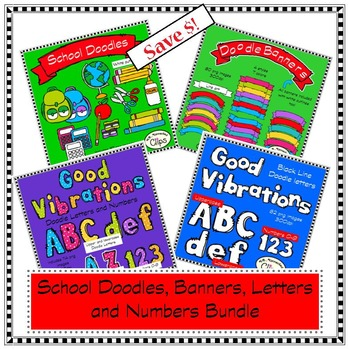 Doodles, Letters, Numbers and Banners Bundle
