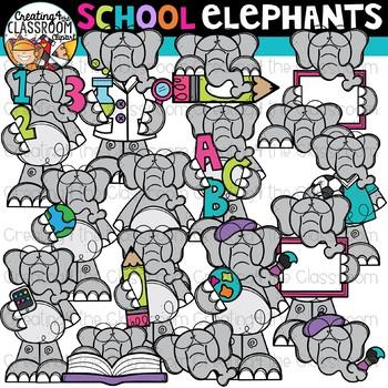 School Elephants Clipart {Elephants Clipart}