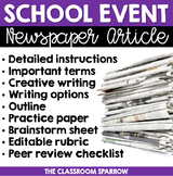 School Event Newspaper Article (peer review, template, & editable rubric!)