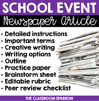 School Event Newspaper Article (peer review, template, & e
