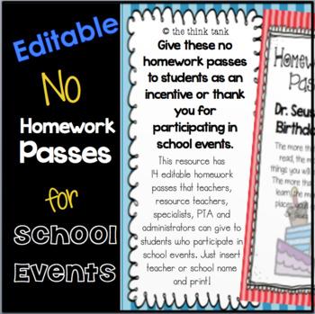School Events Editable No Homework Pass