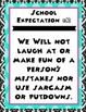 School Expectations Posters- black and turquoise theme