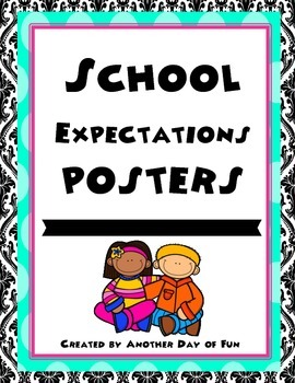 School Expectations Posters- black, pink, turquoise theme