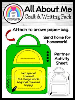 School: Book Bag Craft: All About Me