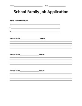 School Family Job Application