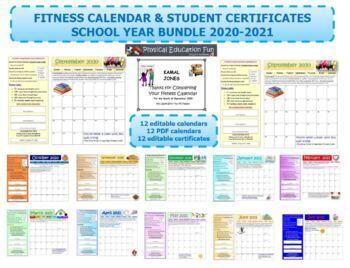 School Fitness Calendar 2018-2019