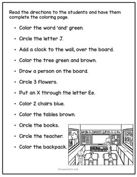 No Prep School Follow the Directions Coloring Worksheets