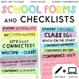 Back to School Forms and Checklists Printables and Editable