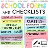 Back to School Forms and Checklists Printables Editable Digital BUNDLE