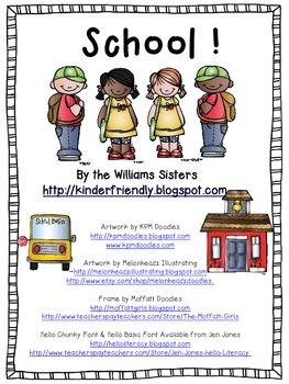 School~ Freebie Emergent Reader for the Beginning of School