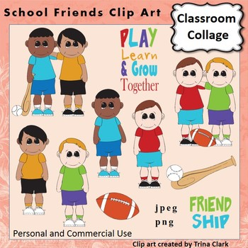 Boy School Friends Clip Art  Color  personal & commercial use