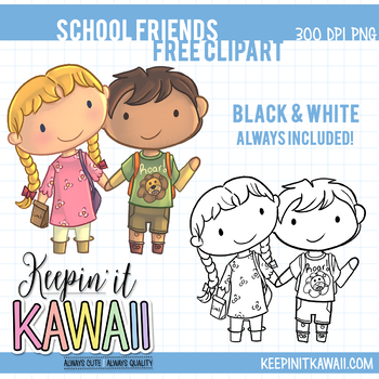 School Friends Free Clip Art, Back to School Clipart, First Day of School