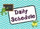 School Froggy Blue Chevron Daily Schedule