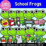 School Frogs: Digital Clipart