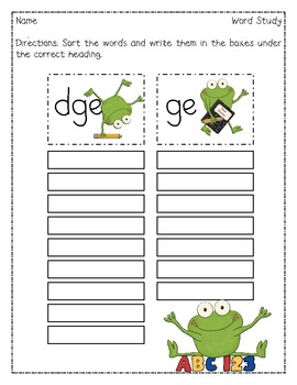 school frogs dge ge word sort by primary reading party tpt. Black Bedroom Furniture Sets. Home Design Ideas