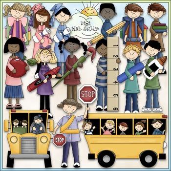 School Fun Clip Art - Back To School Clip Art - School Bus - CU Clip Art & B&W