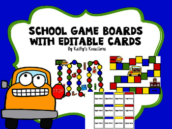 School Game Boards With Editable Cards