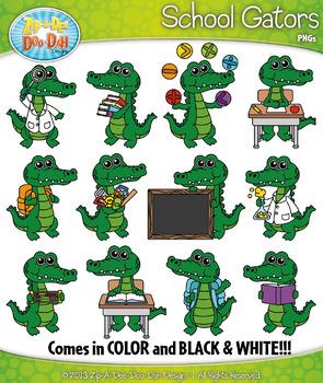 School Gator Characters Clipart {Zip-A-Dee-Doo-Dah Designs}