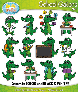 School Gator Characters Clipart — Includes 24 Graphics!