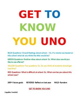 School Get To Know You UNO