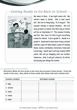 School - Getting Ready to Go Back to School - Grade 4