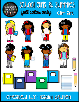 School Girls and Supplies Clip Art