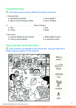 School - Going to School: Timmy, Tony, Ann and Peter - Grade 1