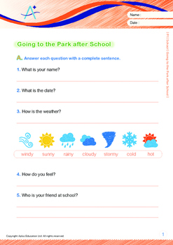 School - Going to the Park After School - Grade 1