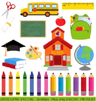 School, Graduation and Teacher Clip Art Clipart - Commercial and Personal Use