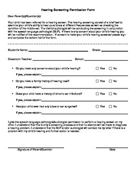 hearing screening form School Hearing Screening Permission Form by SLP Roundup | TpT