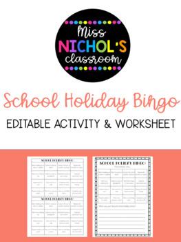 School Holiday Bingo FREEBIE