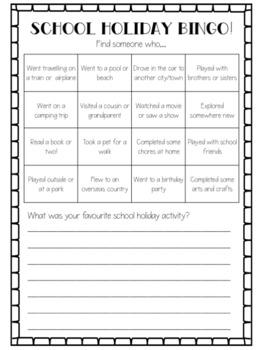 School Holiday Bingo Editable