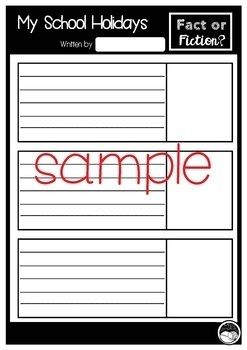 School Holiday recount template - with a twist!