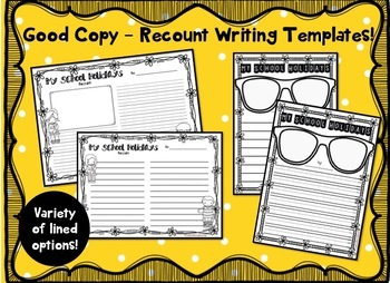 School Holidays Recount Writing Pack - Differentiated