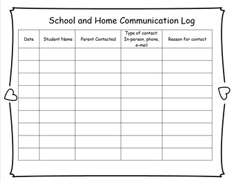 School Home Communication Log