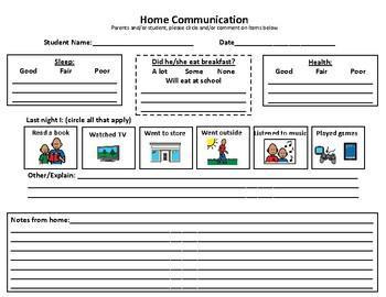 School-Home Communication Log