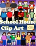 School House CLIP ART ( Clipart) Girls and Boys Triplets Twins and Teacher PNGs