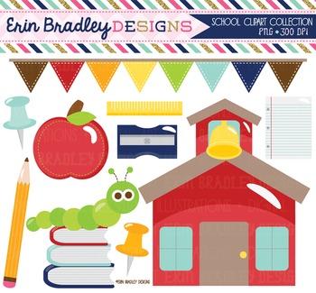 School House Clipart - Back to School Digital Clip Art Graphics