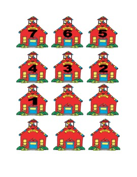 School House Numbers for Calendar or Counting Activity