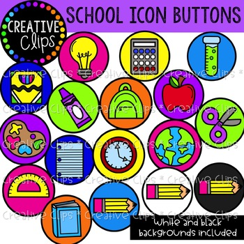 School Icon Buttons Clipart {Creative Clips Clipart}