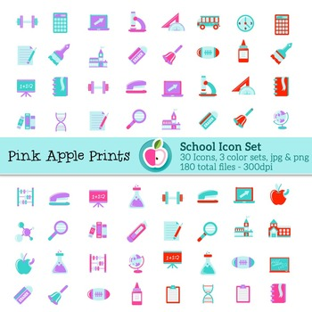 School Theme Icon Set Math Science Writing Reading Graphics for classroom