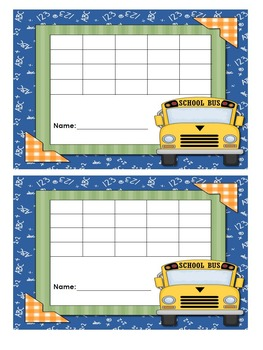 Incentive Charts with a School Theme