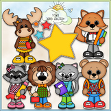 School Is Cool Animals - CU Clip Art & B&W Set