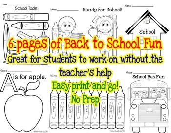 School Is Fun * Back To School Fun Sheets