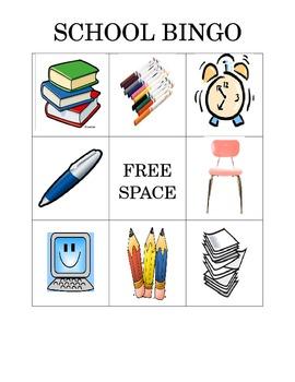School Items Bingo